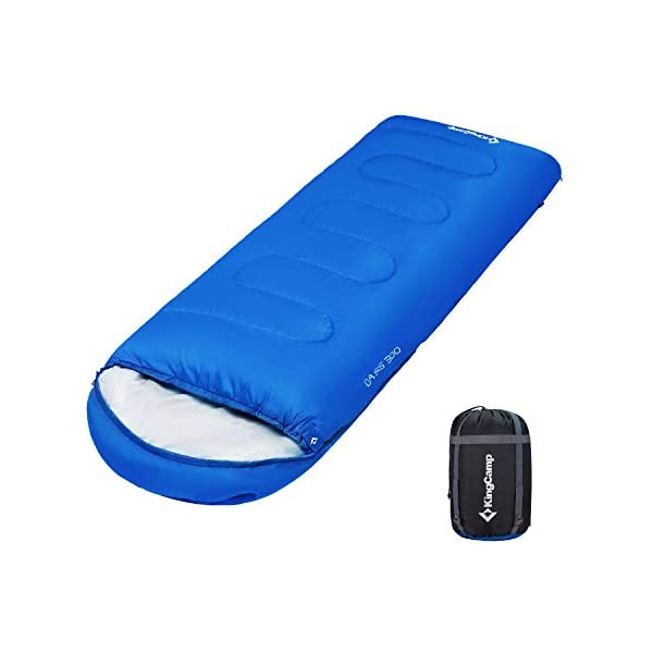KingCamp Envelope Sleeping Bag 3 Season Lightweight Comfort Portable Great for Adults Kids Camping Backpack Hiking with Compression Sack Extreme Temp Rating 44F 3