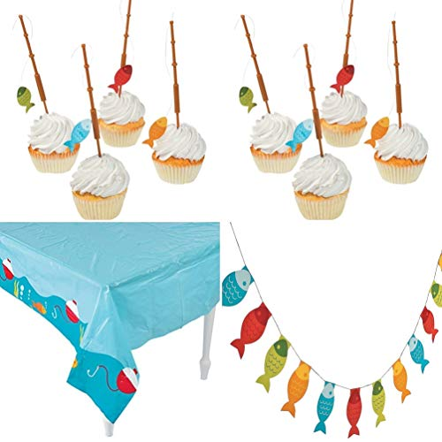 HAPPY DEALS ~ 27 PC - Fisherman Party Set- Fisherman Table Cover + Fisherman Banner + 25 Fishing Pole -