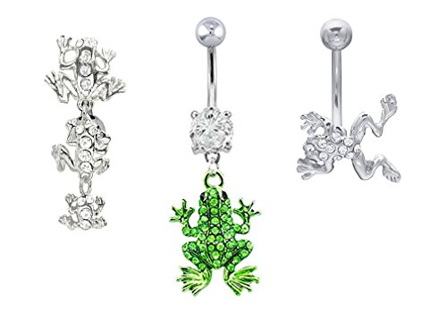 (3 pc Frog lot Clear cz sideway, Clear cz Family, Green gem paved Belly navel ring 14g)