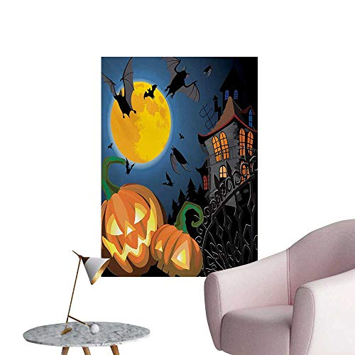 Anzhutwelve Halloween Wallpaper Gothic Halloween Haunted House Party Theme Design Trick or Treat for Kids PrintMulticolor W32 xL36 Poster Print ()