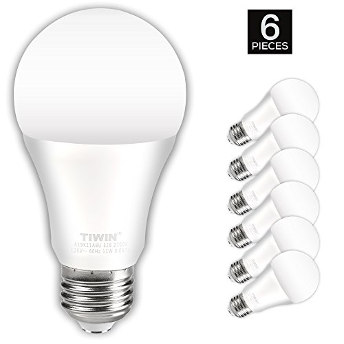 TIWIN LED Light Bulbs 100 watt equivalent (11W),Soft White (2700K), General Purpose A19 LED Bulbs,E26 Base ,UL Listed, Pack of 6