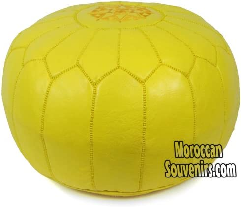 Stuffed Moroccan Pouf, Pouffe, Ottoman, Poof, Color Yellow
