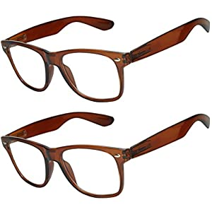 OWL - Non Prescription Glasses for Women and Men - Clear Lens - UV Protection (Brown_Clear_2p, Clear)