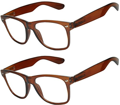 OWL - Non Prescription Glasses for Women and Men - Clear Lens - UV Protection (Brown_Clear_2p, - Us Glasses Online