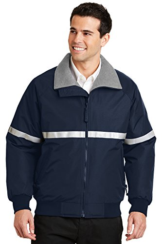 Port Authority Challenger Jacket with Reflective Taping. J754R True Navy/ Grey Heather/ Reflective XL
