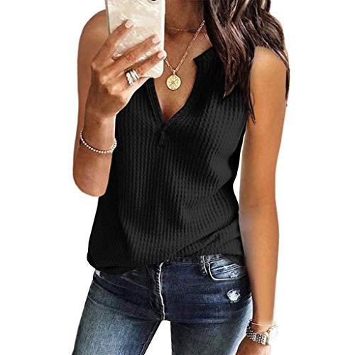 GHrcvdhw Womens Stylish V Neck Shirts Sleeveless Solid Waffle Knit Tanks Loose Fitting Tops Blouse Black
