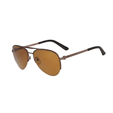0d06a2814887 Image Unavailable. Image not available for. Color: Calvin Klein Collection  Mens Polarized Semi Rimless Aviator Sunglasses Brown ...