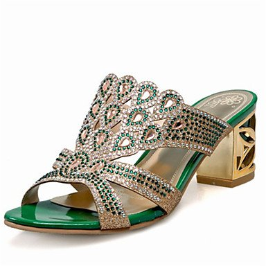 rtry Mujer Sandalias Verano Club zapatos con purpurina materiales personalizados boda y vestido de noche Chunky talón rhinestone brillante US8.5 / EU39 / UK6.5 / CN40