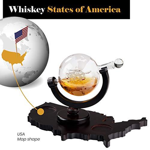 Whiskey Decanter Set World Etched Globe Decanter Airtight Stopper Antique Ship Liquor Dispenser Perfect Bar Gift Bourbon Scotch Vodka Liquor USA Map Tray 850 ml by Bezrat (Image #5)