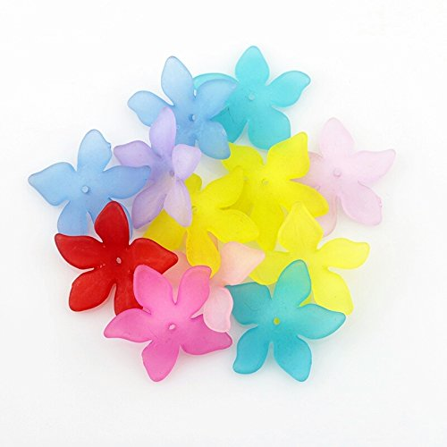 50pc Frosted Acrylic Plastic 5 Petal Flower Beads or Bead Caps- 21mm 3/4
