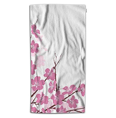 (Moslion Floral Bath Towel Cherry Flower Blossom Tree Branch Nature Botanical Plum Towel Soft Microfiber Baby Hand Beach Towel for Kids Bathroom 32x64 Inch Pink)