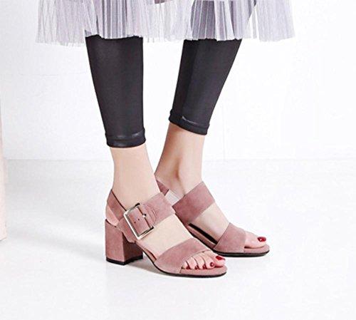 Offene Sandalen und Pantoffel Sandalen Frauen schrubben runde Schnalle Sandalen mit dicken Sandalen Frauen in Sommerschuhen Pink