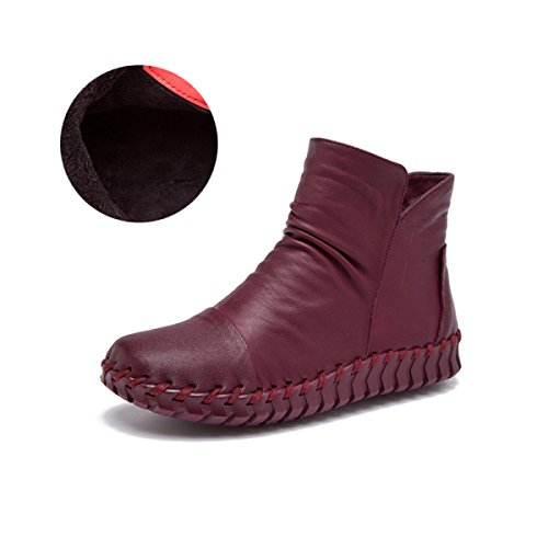 GTYW Women's Heels Women's Boots Women's Boots Hand-Stitched Fall New Casual Flat Wild Round Boot G