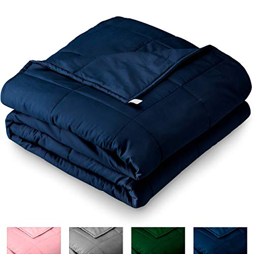 Bare Home Weighted Blanket for Adults 17lb - Standard Size - All-Natural 100% Cotton - Premium Heavy Blanket Nontoxic Glass Beads (Dark Blue, 60x80)