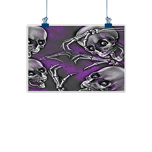 Wall Art Print Home Decor Skull Decor,Scary Creepy Spooky Happy Smiling Skeleton with Boned Hand Art Print,Purple Grey and Black for Boys Room Baby Nursery Wall Decor Kids Room Boys Gift 48