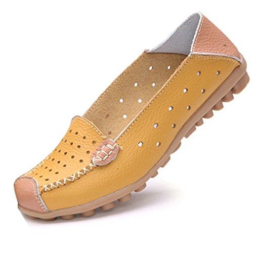 Mine Tom Mujer Moda Los Zapatos Del Holgazán Hueco Zapatillas De Mocasín Talón Plano Verano Zapatos Amarillo