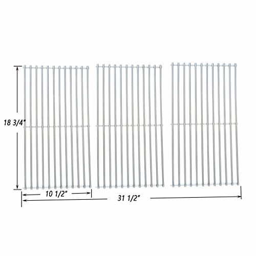 Onlyfire BBQ Stainless Steel Cladding Rod Cooking Grates Cooking Grid Replacement Fit for Master Centro Charbroil Sams Club Members Mark Jenn Air and Others Set of 3