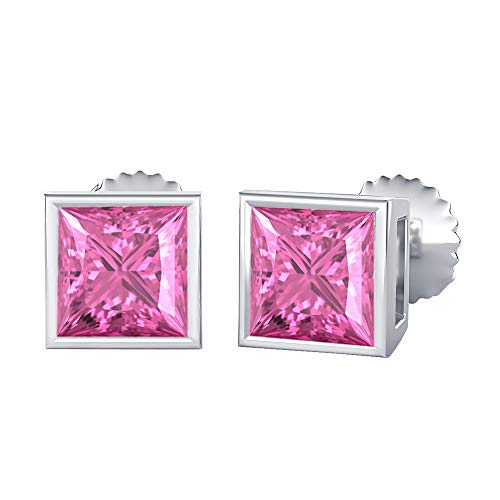 Bezel Set Princess Cut Created Pink Sapphire (10MM) Solitaire Stud Earrings 14K White Gold Over .925 Sterling Silver