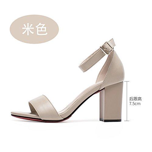 VIVIOO sandalias de tacón alto sandalias de tacón alto sandalias de palabra femenina verano femenino con grosor retro con tacones ocasionales de estudiante Beige 7.5cm