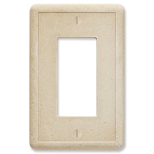 Single Outlet Wall Plate (Questech Travertine Tumbled Textured Wall Plate/Switch Plate/Outlet Cover (Single Decorator GFCI))
