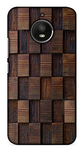 Blutec Wooden Square Texture Design Printed Polycarbonate Back Cover for Motorola Moto E4 Plus  Brown