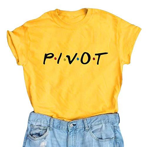 Womens Pivot Friends T Shirt Funny Cute Lightweight Graphic Tee Tops Shirts Yellow