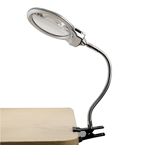 Liruis 2 LED Lighted 25X 5X Magnifier And Desk Lamp For Hobby Crafts Inspection Reading Books Magazines Newspapers Model Building Soldering Jewelry