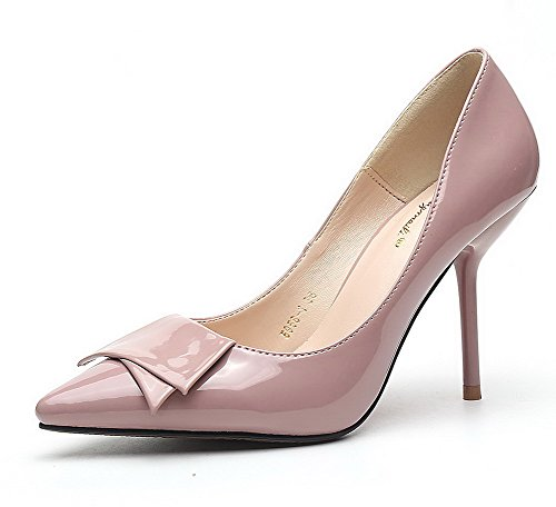 Soft AalarDom Kitten Pointed bow with Heels Bowknot tie Pumps Nude Shoes Solid Womens Material Toe qIfrIw