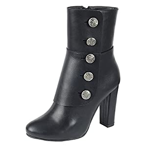 Cambridge Select Women's Steampunk Victorian Button Chunky Heel Ankle Boot