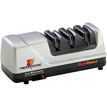 Chef'sChoice 15 XV Trizor Professional Electric Knife Sharpener 3.12 Carat 100-percent Diamond Abrasives Stropping Stage Precision Guides Platinum EdgeSelect for 15 and 20-degree Edges, 3-Stage, Gray