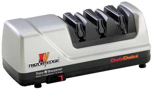 Chef'sChoice 15 XV Trizor Professional Electric Knife Sharpener EdgeSelect for Straight and Serrated Knives Diamond Abrasive Patented Sharpening System Made in USA, 3-Stage, Gray (End Serrated)