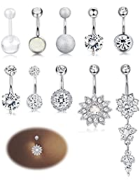 10-12PCS Stainless Steel Belly Button Rings for Womens Girls Navel Rings Barbell Dangle Acrylic CZ Body Piercing...