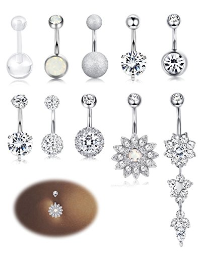 Milacolato 10PCS Stainless Steel Belly Button Rings for Womens Girls Navel Rings Barbell Dangle Acrylic CZ Body Piercing Jewelry ()