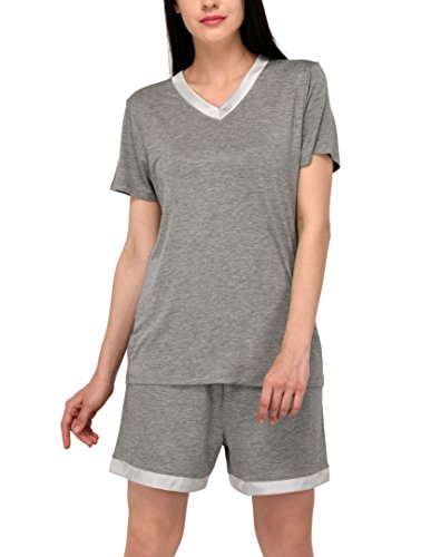 V-Neck Sleepwear Short Sleeve Womens Pajamas Shorts Set/Pjs/Pj Set (Grey Heather, XL)