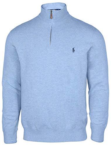 Polo Ralph Lauren Men's Big & Tall Fleece 1/2 Zip Mock Sweater-Blue Heather-Small (Ralph Lauren Mens Fleece)