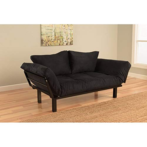 Contemporary Sofa Sleeper - Convertible Lounger Futon and Mattress - Accent Upholstered Fabric Couch - Easy Covert to a Guest Bed (Black)