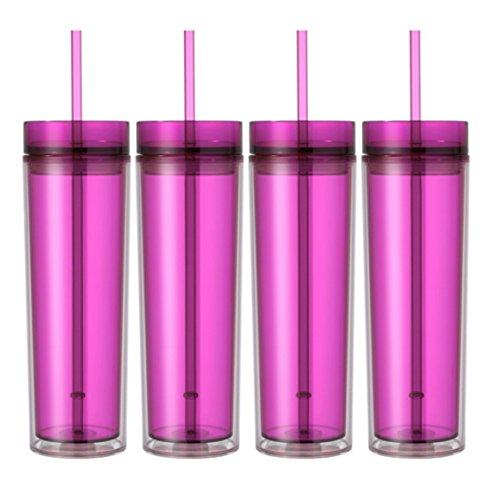 Pink Tumbler - Set of 4 Double Wall Skinny