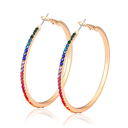 Crystal Hoop Earrings for Women Large Dazzling Rainbow Rhinestone Circle Fashion Earrings Girls Sensitive Ears Pierced Earrings (Gold Rainbow)]()