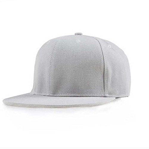 [Winhurn 2016 New Fashion Unisex Plain Snapback Hats Hip-Hop Adjustable Baseball Cap (Light gray)] (Hip Hop Felt Hat With Feather)