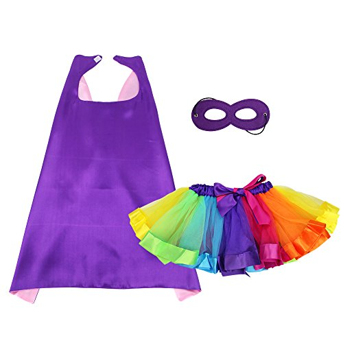 (Kids Dress Up Superhero Cape and Mask with TUTU Dress for Girls Pretend Playing Party)