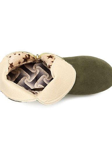 XZZ/ Damen-Stiefel-Outddor / Lässig-Kunstleder-Keilabsatz-Reitstiefel / Modische Stiefel-Schwarz / Grün / Rot / Beige beige-us10.5 / eu42 / uk8.5 / cn43