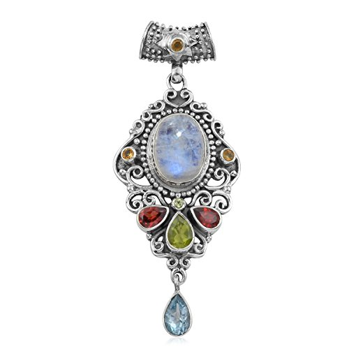Artisan Crafted Rainbow Moonstone, Multi Gemstone Sterling Silver Pendant without Chain For (Artisan Crafted Necklace)