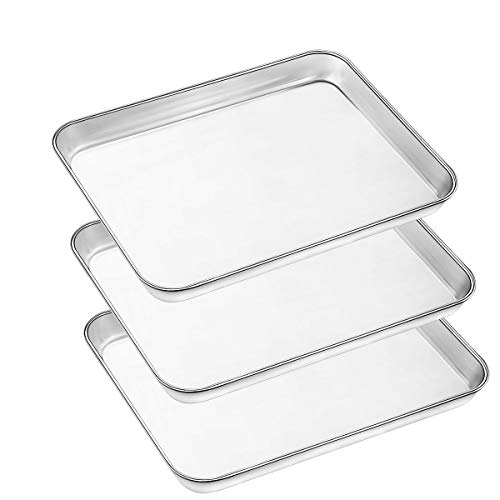 Baking Pans Sheet, 3 Piece Large Cookie Sheets Stainless Steel Baking Pan for Toaster Oven, Umite Chef Non Toxic Tray Pan, Mirror Finish, Easy Clean, Dishwasher Safe, 10 x 8 x 1 inch ()