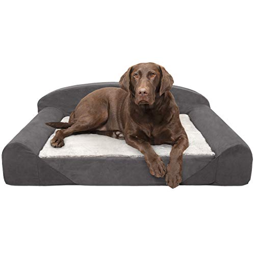 FurHaven Pet Dog Bed | Luxury Edition Goliath Pet Sofa for Dogs & Cats, Stone Gray, Large