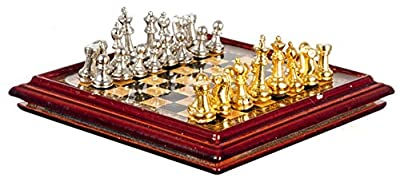Dollhouse Miniature Chess Set with Metal Pieces