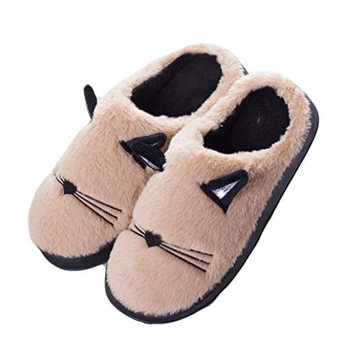 York Zhu Winter Warm Bedroom Slippers - Cute Smiley Plush Slippers Women Girls Non Slip