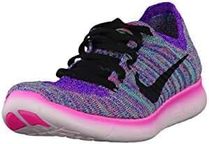 Nike Women's Wmns Free RN Flyknit, PINK BLAST/BLACK-RACER BLUE-CLEAR JADE, 7.5 M US