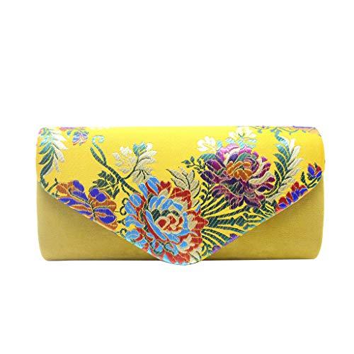 (DDKK bags Fashion Women Flower Clutches Evening Bags Handbags Wedding Clutch Purse-Embroidery Cocktail Party Bag)