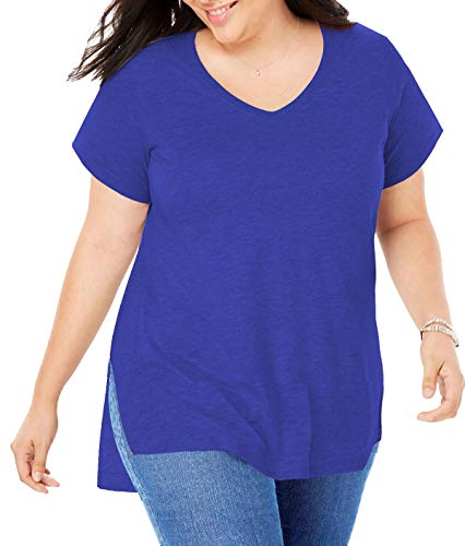Women Plus Size Short Sleeve T Shirt Basic Tee Tops High Low Loose Shirts with Side Split (Blue, X-Large)