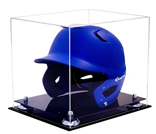 Deluxe Helmet Display Case (Deluxe Clear Acrylic Baseball Batting Helmet Display Case with Silver Risers (A012-SR))